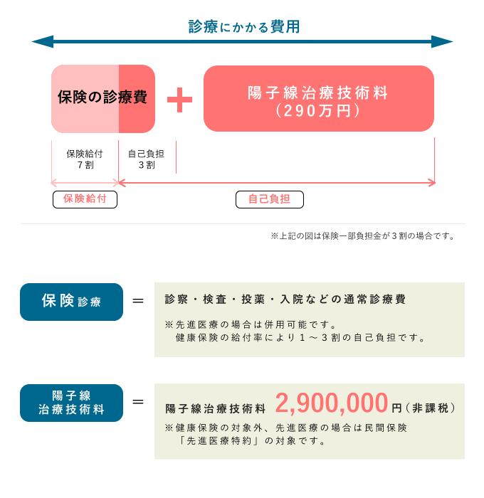 陽子線治療の治療費の表画像